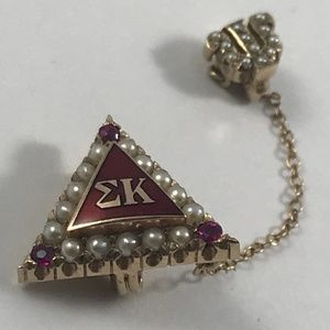 Sigma Kappa Sorority Badge, Gold Pearl Ruby Badge
